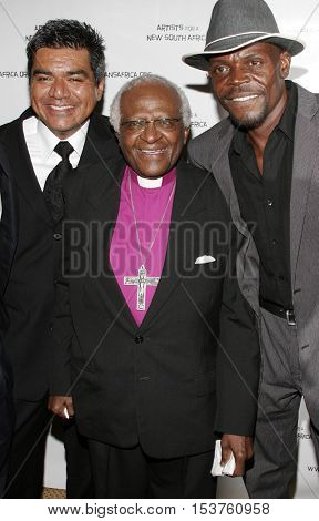 George Lopez and Desmond Tutu at the Archbishop Desmond Tutu's 75th Birthday Party held at the Regent Beverly Wilshire Hotel in Beverly Hills, USA on September 18, 2006.
