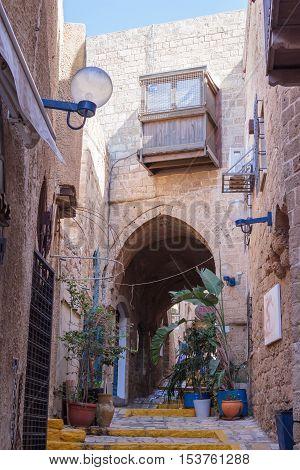 Yafo, Israel, October 15, 2016: Quiet street in old city Yafo, Israel