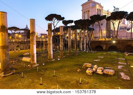 ROME, ITALY - CIRCA DECEMBER 2015: Ancient ruins in Rome at night, Italy