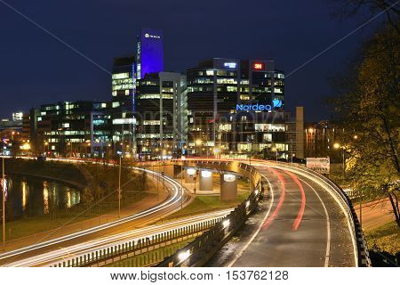 VILNIUS OCTOBER 26: Corporate Business Buildings on October 26 2016 in Vilnius Lithuania. Vilnius is the capital of Lithuania and its largest city.