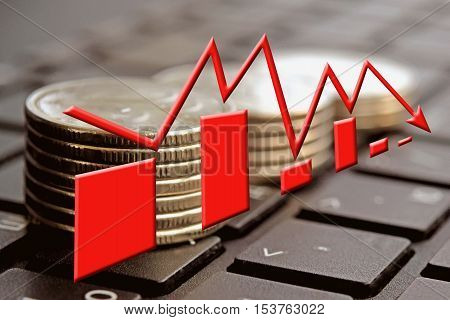 The red arrow on the background of money . The concept of changes in Bank interest rates .