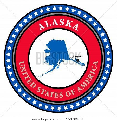 Label with name and map of Alaska, vector illustration