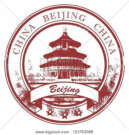 Grunge rubber stamp with Temple of Heaven and the word Beijing, China inside, vector illustration