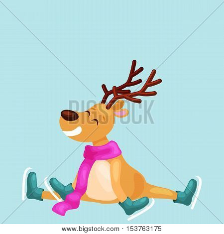 Christmas reindeer with horns and scarf skates on ice fun and happily spending time on the eve of New Year holiday, winter christmas animal deer vector illustration, .