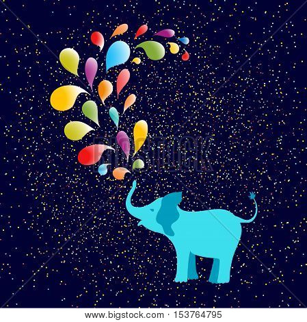 Baby elephant spraying colorful water drops over itself. Falling tiny confetti pieces on blue background. Vector illustration. Perfect for baby shower projects cards and party invitations.