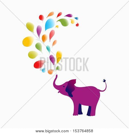 Baby elephant spraying colorful water drops over itself. Vector illustration for your design.
