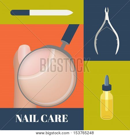 Flat icons set of manicure tools- nippers a nail file and cuticle essential oil. Vector illustration of a magnifier showing cuticle. Concept of healthy nails and cuticle.