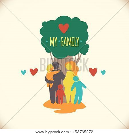 Happy family icon multicolored in simple figures. Three children, dad and mom stand together under the tree.Vector can be used as logotype