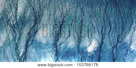 Abstract photography of landscapes of deserts of Africa from the air, allegory blue,