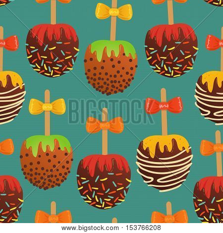 Vector Seamless Pattern With Set Of Caramel Apples. On Turquoise Background.