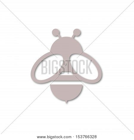 Simple vector Bee icon on white background