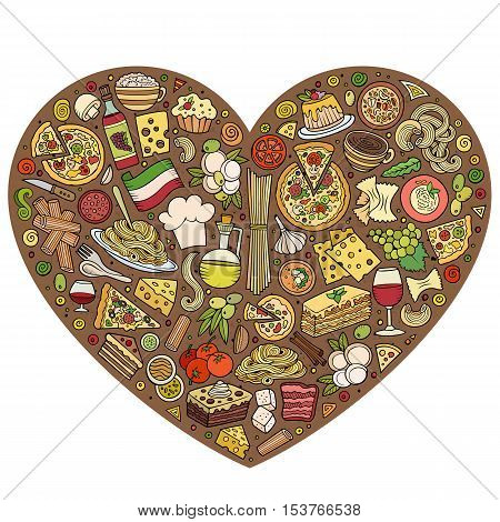 Colorful vector hand drawn set of Italian food cartoon doodle objects, symbols and items. Heart form composition