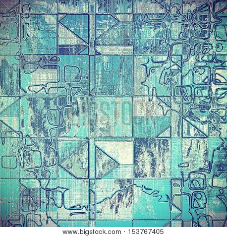 Geometric creative vintage grunge texture or ragged old background for art projects. With different color patterns: gray; blue; cyan; white