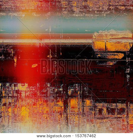 Shabby texture or background with classy vintage elements. Grunge backdrop with different color patterns: yellow (beige); brown; red (orange); cyan; pink; black
