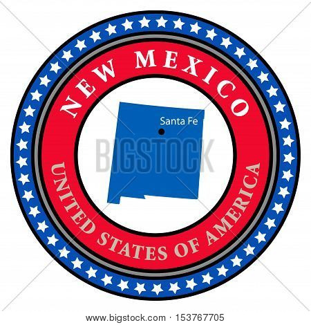 Label with name and map of New Mexico, vector illustration