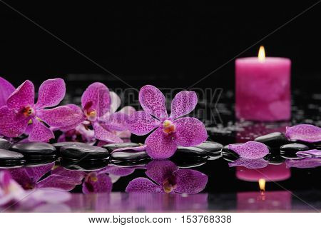 Still life with set of orchid ,candle with therapy stones