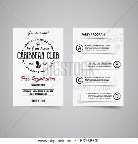 caribbean party back and front flyer template design Invitation – Invitation Flyer Template