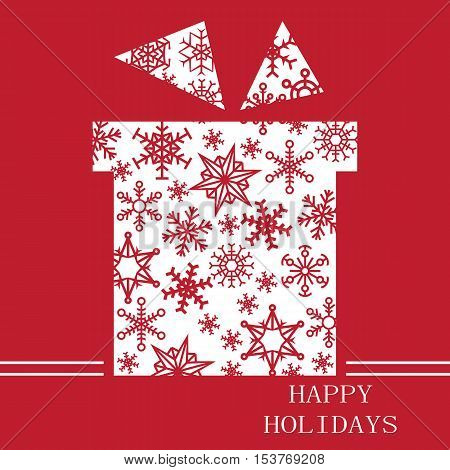 Christmas card on red background white silhouette gift with a snowflake inside and the words