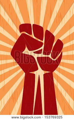 Fist Hand Soviet Revolution Propaganda Communist Retro Vintage Poster