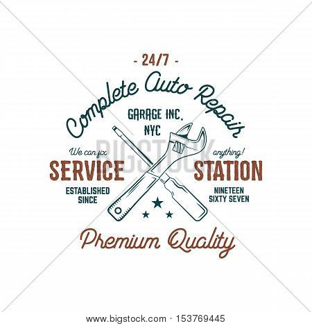 Service station vintage label tee design graphics, complete auto repair service typography print. Custom t-shirt stamp, teeshirt graphic. Good for tee shirt print, emblem, logo on web. Vector artwork