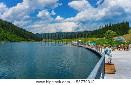 a lake Bukovel in the Ukrainian Carpathians