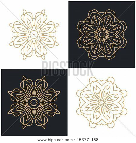 Set of beautiful Luxury logotype flower for antique boutique. Gold logo, flower. Simple geometric sign.