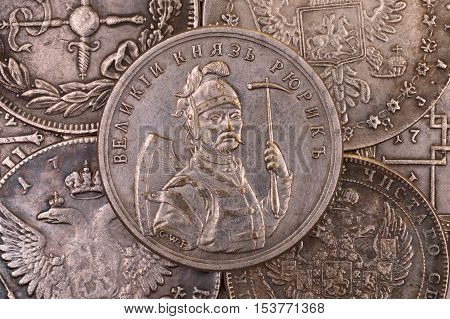 Ancient silver coin Russian Grand Prince Rurik