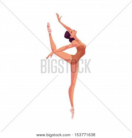 Young beautiful dancer in tights and ballet shoes, cartoon illustration isolated on white background. Young graceful ballet dancer wearing tights and ballet slippers