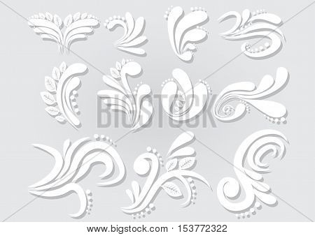 Vector abstract floral set for invitation cards decoration.