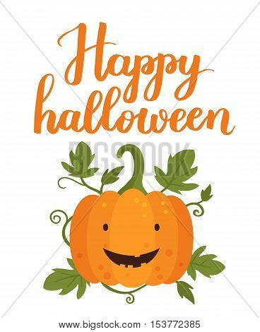 Vector Illustratiom Happy Halloween With Cute Pumpkin. On White Isolated Background.