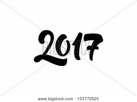 Bold 2017 lettering. New Year Day design element. Handwritten text, calligraphy. For greeting cards, posters, leaflets and brochure.