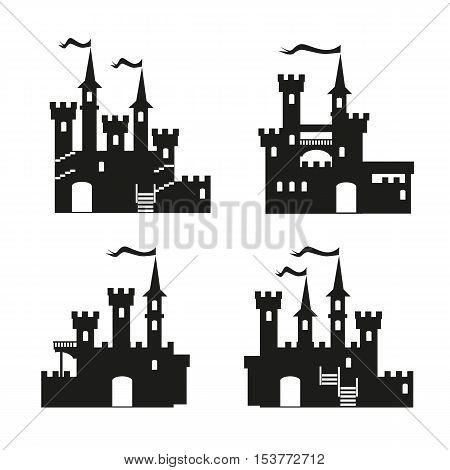 Medieval castle icon vector set. Castle tower silhouette. Knights, royal, princess castle sign, castle vector, castle wall