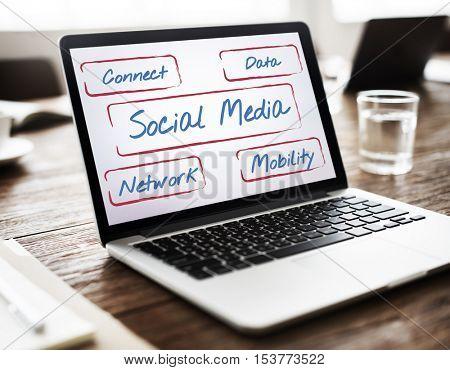 Social Network Box Word Diagram Concept