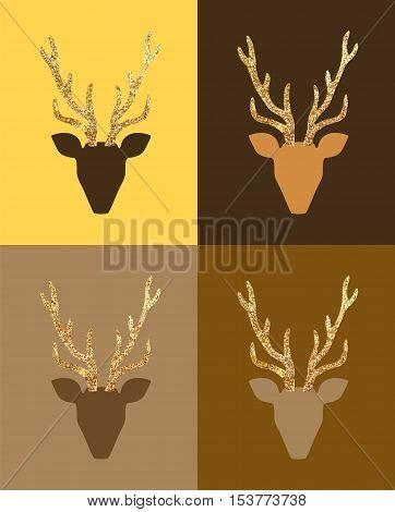 Vector minimalist gold deer Merry Christmas postcards.