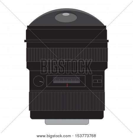 Wide Angle Fish-eye Lens Flat Vector Image Isolated On White.