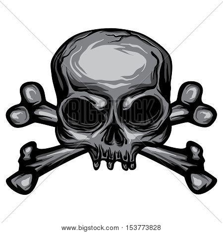 Grunge Skull and Cross Bones Vector Pirate Symbol Halloween