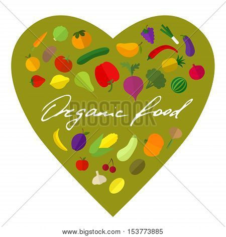 Vector vegetable and fruit colorful heart shape organic food concept, poster. Hand lettering.