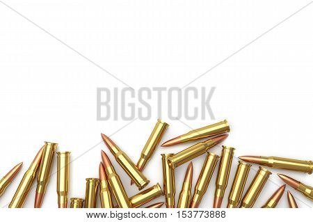 Pile of empty bullet on white background. 3D illustration