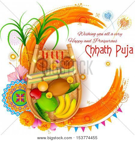 illustration of Happy Chhath Puja Holiday background for Sun festival of India