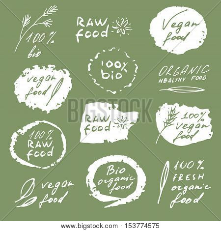 Raw food. 100% bio. Vegan food. Fresh organic healthy food stamps.