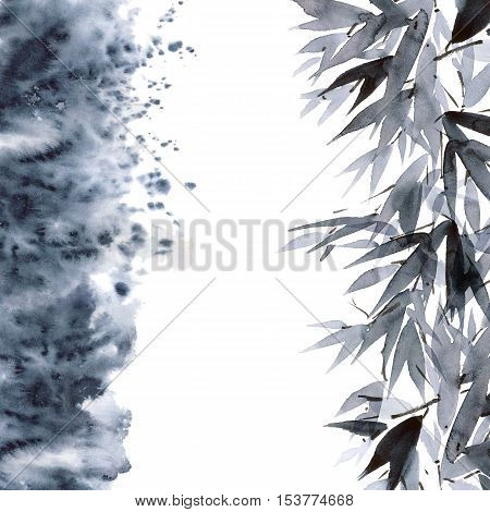 Watercolor and ink illustration of bamboo with smoke in style sumi-e u-sin. Oriental traditional painting. Decorative background.