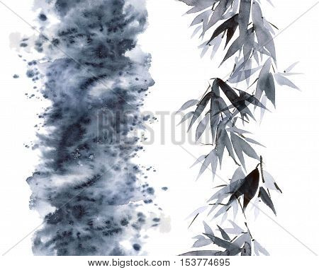 Watercolor and ink bamboo leaves pattern and abstract smoke in style sumi-e u-sin. Oriental traditional painting. Seamless pattern.