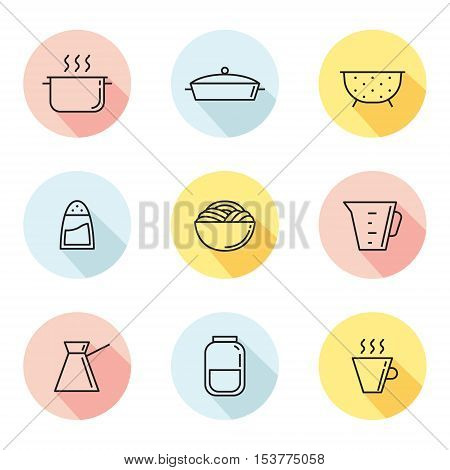 Crockery and cooking multicolored circle icons set. Clean and simple outline design. Part two.