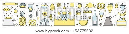 Crockery sweets and beverages horizontal illustration. Clean and simple outline design. Part two.