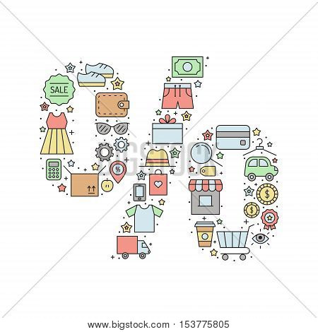 Shopping percent (sale) vector illustration. Clean and simple outline design.