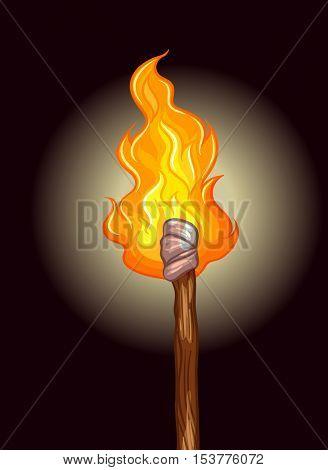 Fire on wooden stick illustration