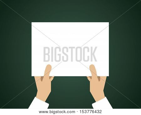 Holding White Paper. Concept Business Illustration. Vector Flat