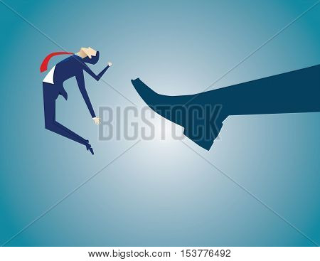 Businessman Kicked By His Boss Foot. Concept Business Illustration. Vector Flat