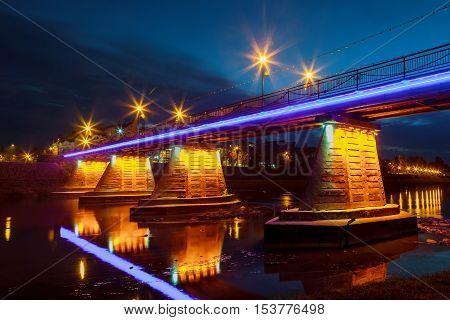 October 14. 2016 footbridge Night Uzhgorod Ukraine road lights