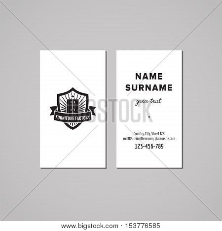 Furniture business card design concept. Furniture logo with wardrobe and shield. Vintage hipster and retro style.